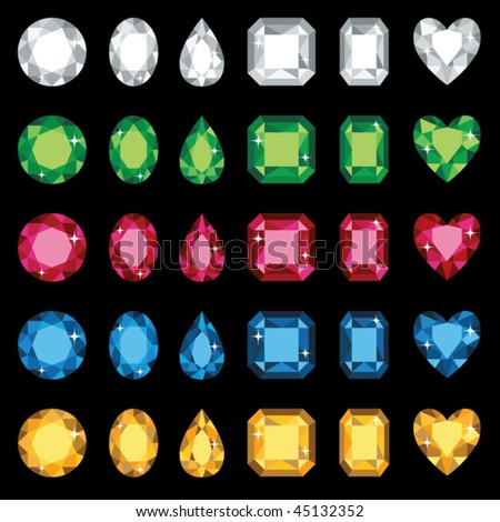 Vector illustration of colorful gemstones in six different shapes. No gradients used.