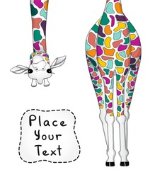 Vector illustration of colorful giraffe with place for your text