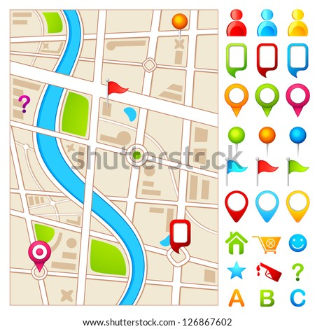 vector illustration of colorful GPS pointer with map