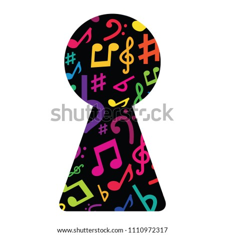 vector illustration of colorful keyhole with music notes inside for creating new composition and melody designs