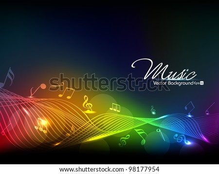 Vector illustration of colorful musical wave background with musical notes.