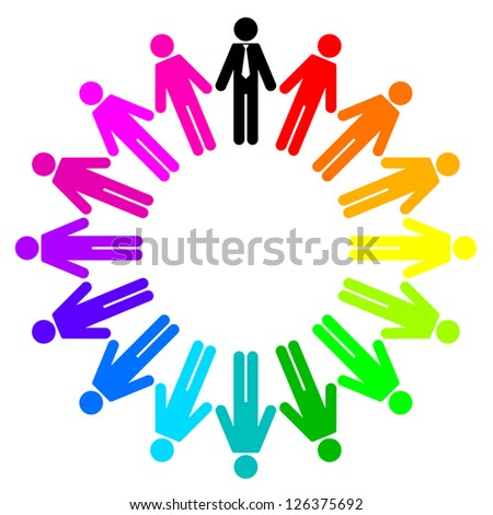 Vector Illustration of colorful peoples (employees and manager) - stock vector