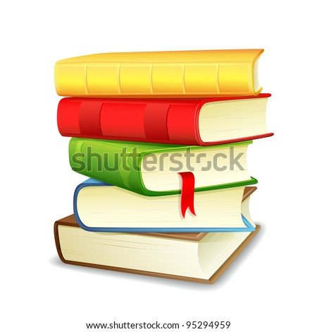 vector illustration of colorful pile of book