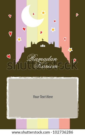 Vector illustration of colorful ramadan greeting card