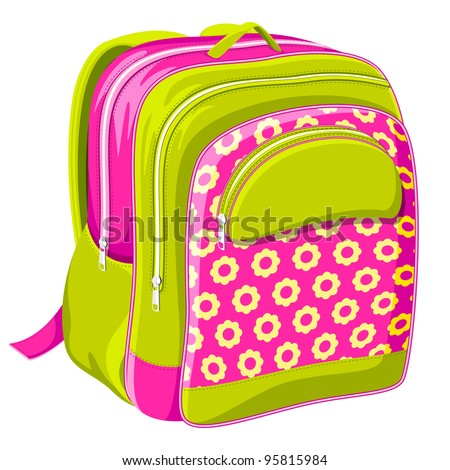 vector illustration of colorful school bag on white background