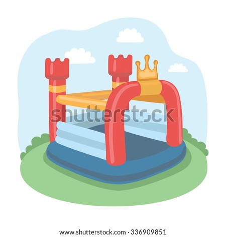 Vector illustration Of Colorful Small Air Bouncer Inflatable Trampoline Castle On The Meadow