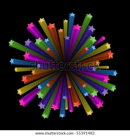 Vector illustration of colorful stars explode on black background