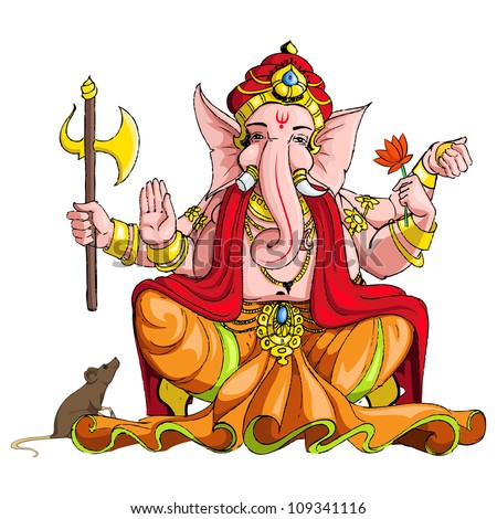 vector illustration of colorful statue of lord Ganesha