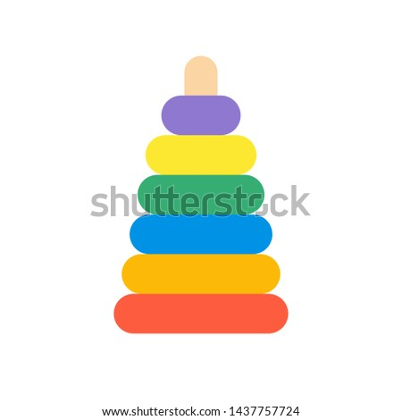 Vector illustration of colorful toy pyramid. Toy pyramid icon.