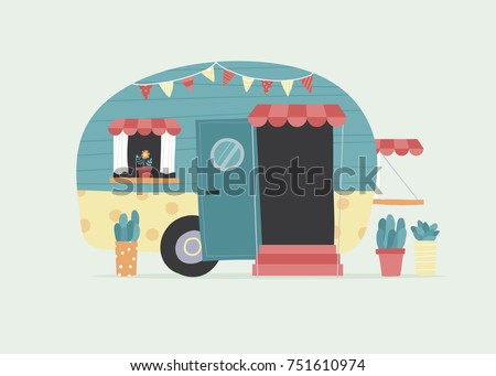 Vector illustration of colorful vintage camper with succulent planters outside