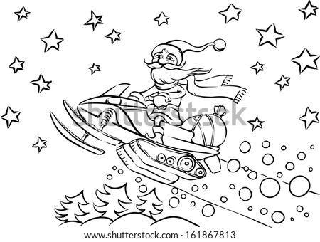 snowmobile jumping download free vector art stock graphics images Extreme Snowmobile vector illustration of coloring book santa claus riding on snowmobile easy edit layered vector