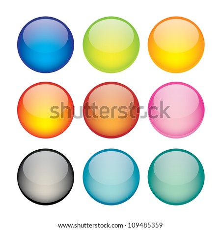 Vector illustration of coloured glossy and shiny network sphere icon.