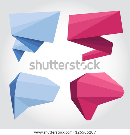 Vector illustration of colourful origami. Speech bubbles/banners, simple shapes, flat and volume.