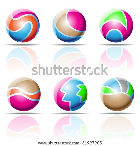 vector illustration of colourful spheres with reflections