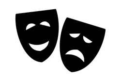 Vector illustration of comedy and tragedy theater masks