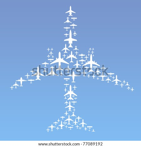 Vector Illustration of Commercial Airplanes Formation (15 different airplane designs)