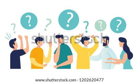 Vector illustration of communication of people in search of solutions to problems, use in web-projects and applications, collective thinking