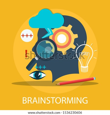"Vector illustration of communication & teamwork concept ""brainstorming"" creative and innovation icon."