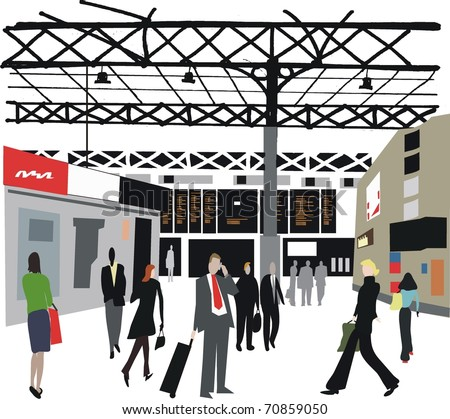 Vector illustration of commuters at London railway station, England.