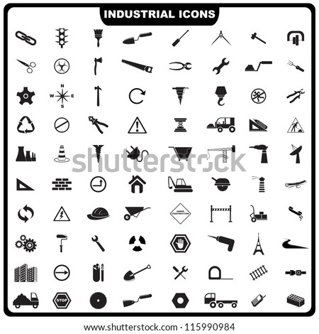 vector illustration of complete set of industrial icon