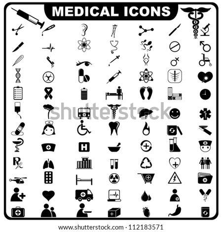 vector illustration of complete set of medical related icon