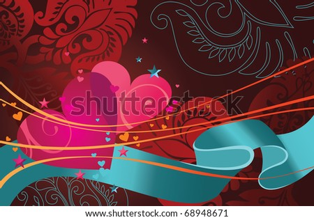Vector illustration of composition contains hearts, ribbon and floral ornament.
