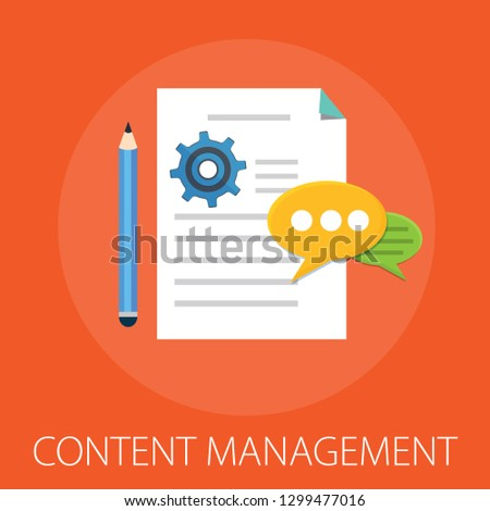 Vector illustration of computer content management concept with
