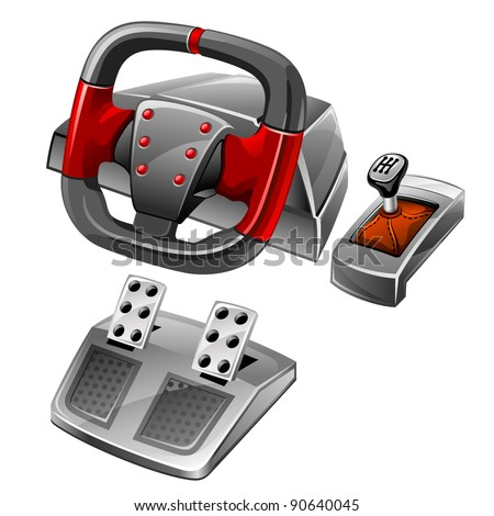 Vector illustration of computer game wheel on white background