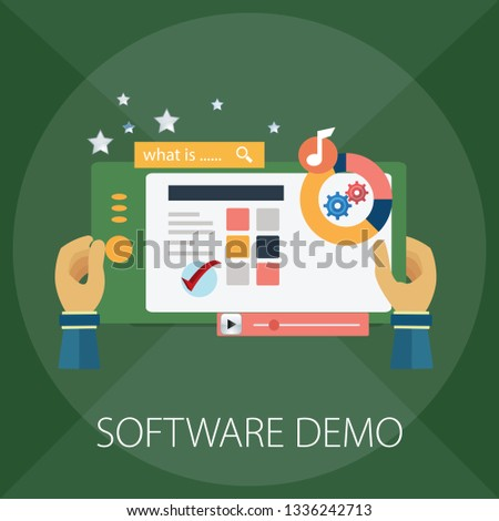 Vector illustration of computer or mobile & app upgrade concept