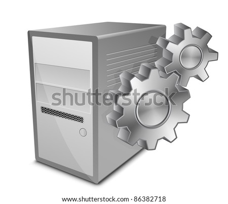 Vector illustration of computer server and gears