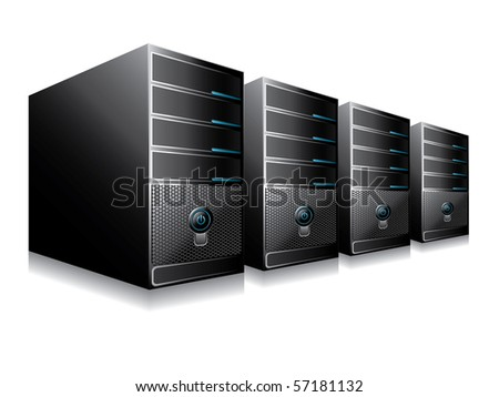 Vector illustration of computer servers
