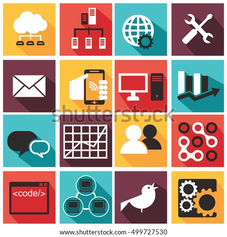 Vector illustration of computer technology icons set