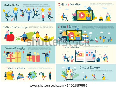 Vector illustration of concept of Online education, online support, online review and online shopping  in flat design