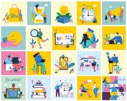 Vector illustration of concept of Team work, Shopping, Online Doctor, Business and Start up design backgrounds
