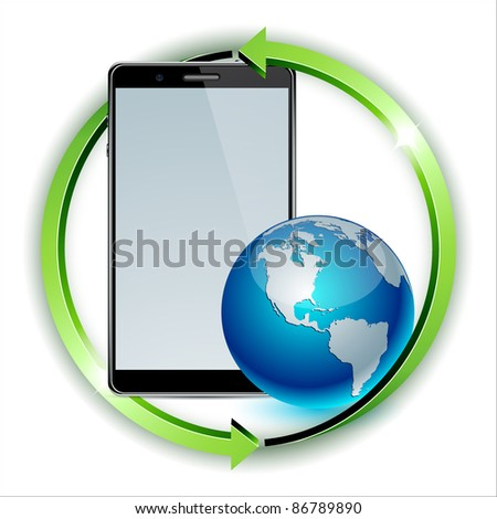 Vector illustration of Concept world distribution of communicators.