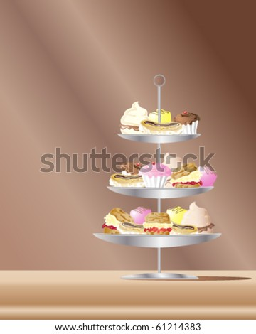 vector illustration of confectionery cakes on a metal stand in eps10 format