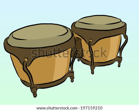 Vector Illustration Of Conga Latin Percussion By Hand Drawing