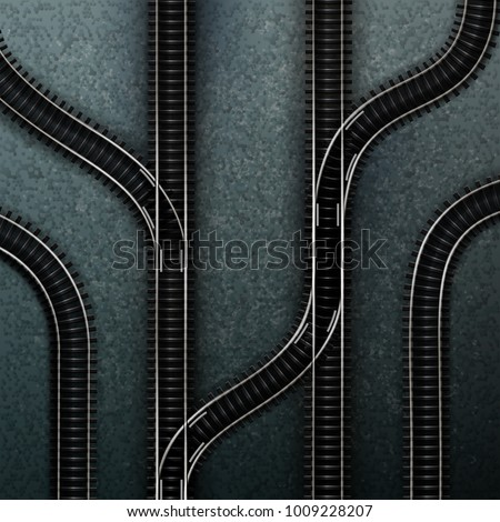 Vector illustration of connections of several railway tracks. Isolated top view