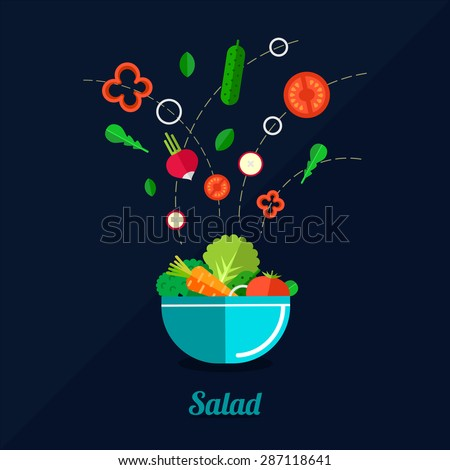 Vector illustration of cooking salad with bowl and vegetables. Flat style.