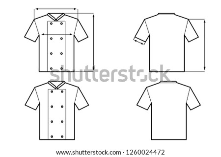 9f153215ad Vector illustration of cooking suit. Culinary clothes. Size scheme