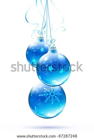 Vector illustration of cool blue Christmas decorations