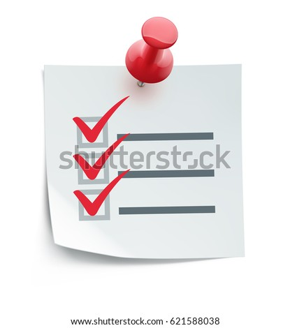 Vector illustration of cool check list with red push pin