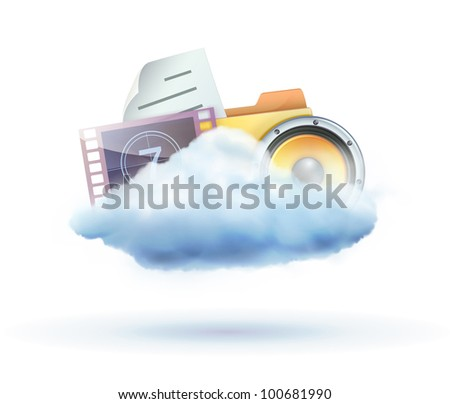 Vector illustration of cool cloud based media sharing concept icon