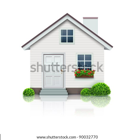Vector illustration of cool detailed house icon isolated on white background.