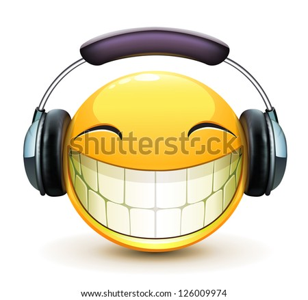 Stock Photo Vector illustration of cool glossy single musical emoticon with detailed headphones