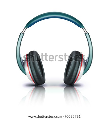 Vector illustration of cool headphones icon isolated on white background.