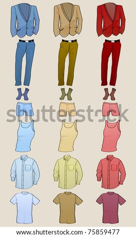 Vector illustration of cool Men clothes icon set in the different colors - stock vector