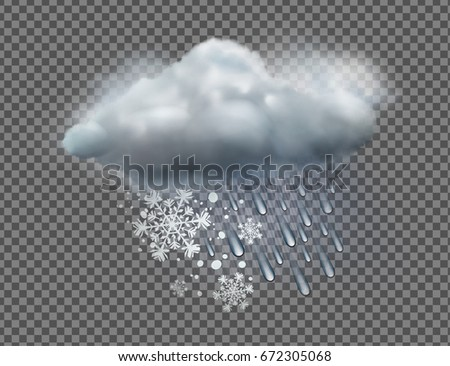 Vector illustration of cool single sleet weather icon with cloud, snow and rain on transparent background