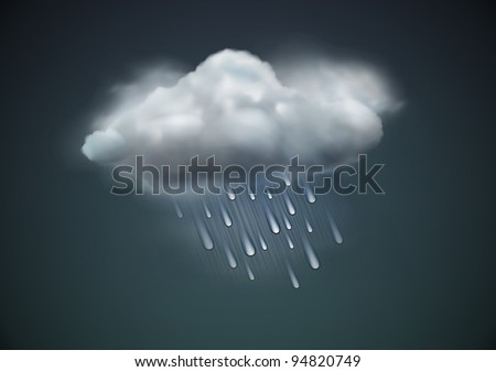 Vector illustration of cool single weather icon -  raincloud with raindrops in the dark sky
