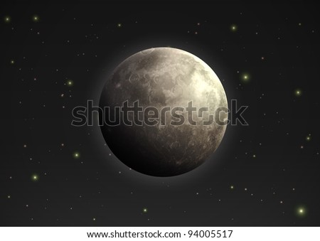 Vector illustration of cool single weather icon - realistic moon in the night sky